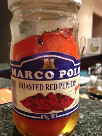 Roasted bell peppers are available at Italian specialty stores and keep in the fridge